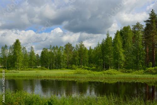 Fototapeta Northern town Taivalkoski. Finnish Lapland obraz na płótnie