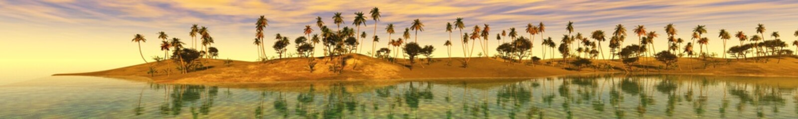 Fototapeta Panorama ocean sunset, island in the sea, panoramic view of sunset in the sea, palm trees on the island.