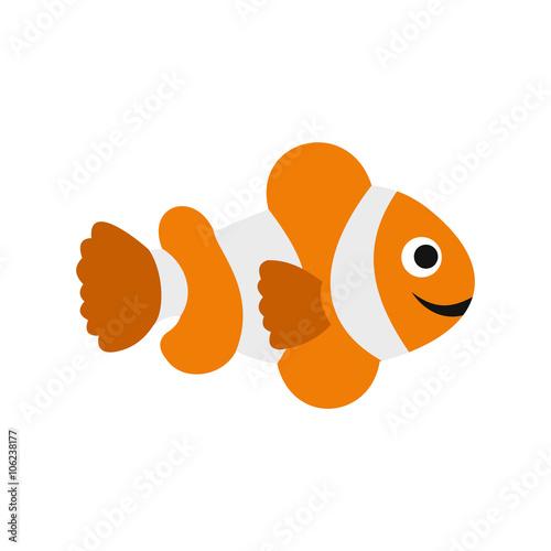 Fotografia  Clownfish flag icon, flat style