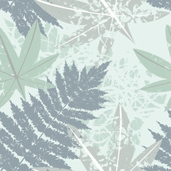 Fototapeta Seamless pattern with tropical and exotic leaves