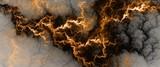 Electric Golden Lightning - Digital Fractal gorącej Fantasy Gold błyskawica, tło elektryczne - 106252343