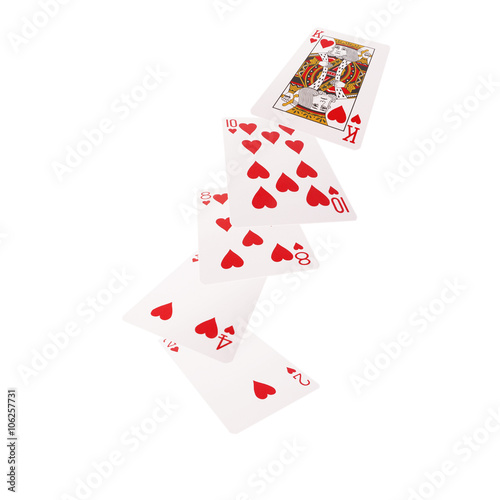 фотография  Close up of falling playing cards. Flush