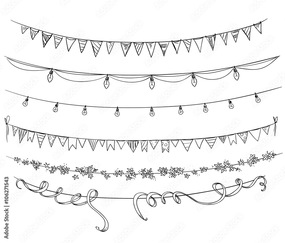 Fototapeta Set of decorations. Flags and lights. Vector sketch.