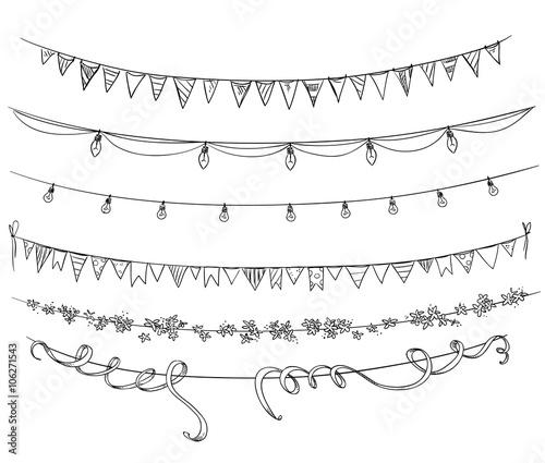 Fotografia  Set of decorations. Flags and lights. Vector sketch.