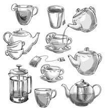 Set Of Tea Cups And Teapots. Vector Sketch.