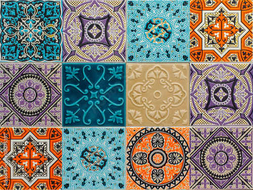 Tuinposter Marokkaanse Tegels colorful ornament ceramic tiles patterns