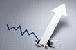 力強い成長を示すグラフ。 グレーのグラフ。悪い状況を変える、紙を突き破る矢印。