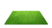 Close Up Of Grass Carpet Isolated On White Background With Copy