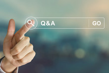 Business Hand Clicking Q&A Or ...
