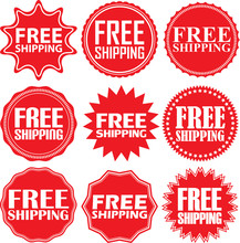 Free Shipping Signs Set, Free Shipping Sticker Set, Vector Illus