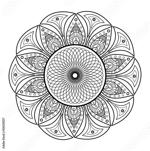 Black And White Mandala Vector For Coloring Mandala In Bianco E