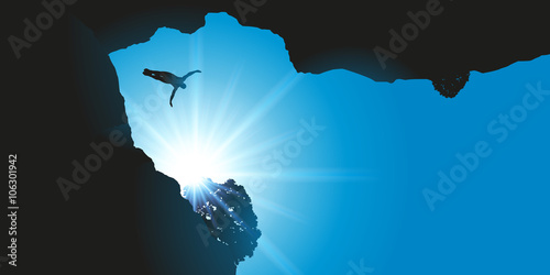 Fotografie, Obraz  Plongeon de haut vol - falaise