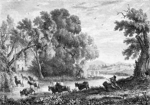 Photo Stands Gray Landscape by Claude Lorrain, vintage engraving.