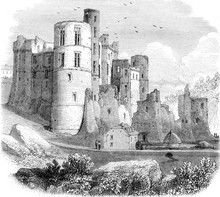 Beaufort Castle, In The Grand Duchy Of Luxembourg, Vintage Engra
