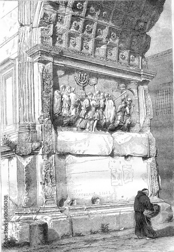 Photo Part of the Arch of Titus in Rome, vintage engraving.