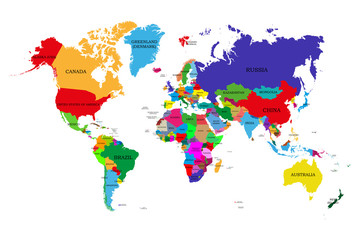 Fototapeta Colored political world map with names of sovereign countries and larger dependent territories. Different colors for each countries