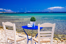 Cute Little Tavern On The Sea Coast In Paros Island, Cycladic Paradise Resort, Cyclades, Greece