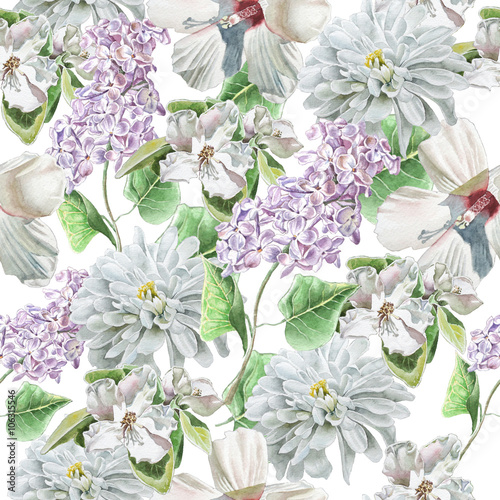 Poster Fleuriste Seamless pattern with flowers. lily. Chrysanthemum. Lilac. Blossom. Watercolor.