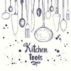Fototapeta samoprzylepna Seamless background with eating utensils. Menu pattern.