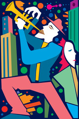 Fototapeta Muzyka / Instrumenty Jazz Player in a City, Trumpet (Vector Art)