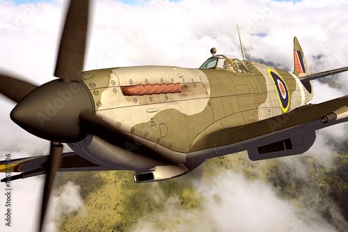 Supermarine Spitfire 3D rendering Slika na platnu