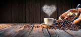 Fototapeta Kawa jest smaczna - Traditional Coffee Cup With Heart-Shaped Steam On Rustic Wood