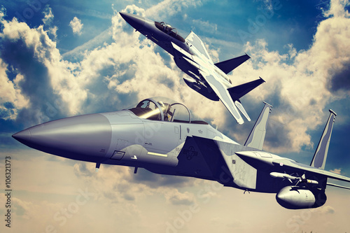 Fototapeta F-15C Eagle 3D rendering vintage effect obraz na płótnie