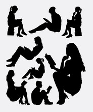 Reading Book Male And Female Study Activity Silhouette. Good Use For Symbol, Logo, Web Icon, Mascot, Sign, Sticker, Or Any Design You Want. Easy To Use.