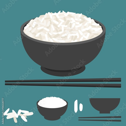 Fotografie, Obraz  Rice vector in bowl with chopsticks