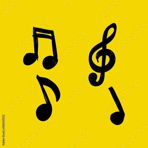 Vector Set Of Hand Drawn Music Notes On Yellow Background Doodle