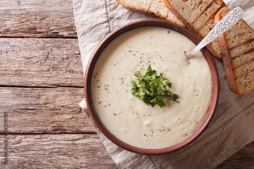 Du Barry French white soup on the table. horizontal top view Canvas Print