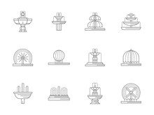 Decorative Fountains Flat Line Vector Icons Set