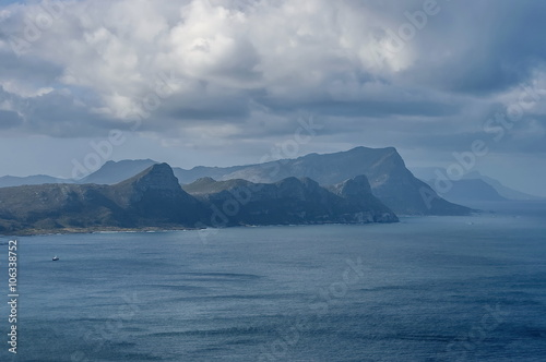Fotografering  Scenic View to False bay and Cape peninsula from Cape of Good Hope hill, South A