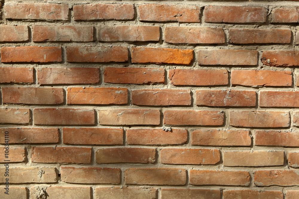 Mur z cegły czerwonej - obrazy, fototapety, plakaty
