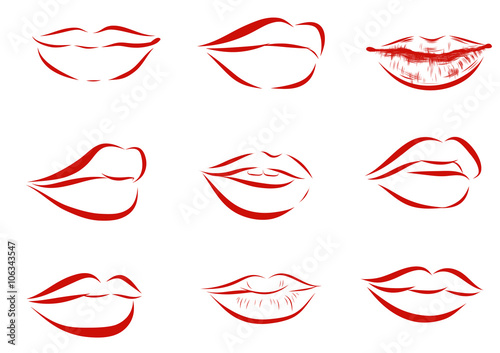 Set of isolated red women lips on light background. Poster