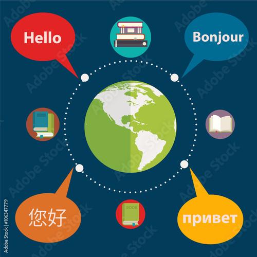 Fotografía  Synchronic translation services and international court legal interpreting flat