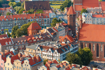 Panel Szklany Podświetlane Gdańsk Aerial view of Old Town with Tower Jacek in the summer morning, Gdansk, Poland