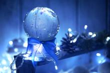 Christmas Snow Globe With Blue...