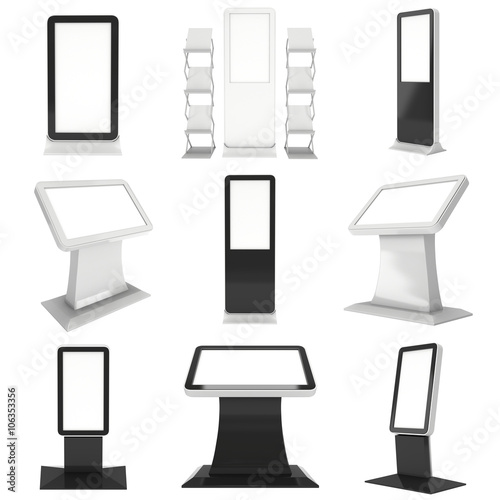 Trade show booth LCD kiosk stand set. Wallpaper Mural