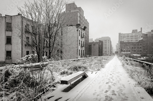 Black & White view of the High Line covered in snow after winter snowstorm Poster