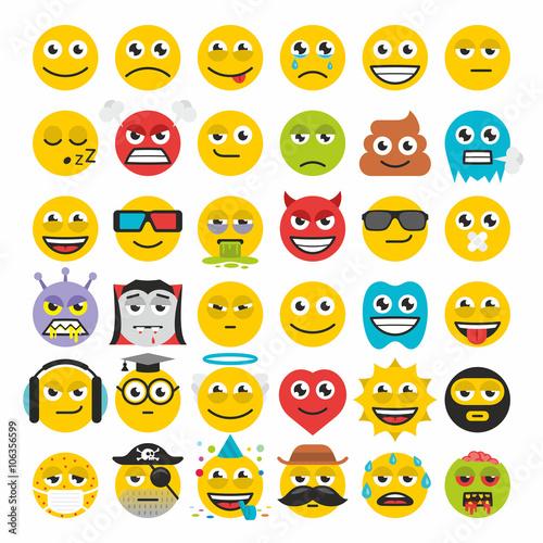 Set of emoticons vector Tableau sur Toile