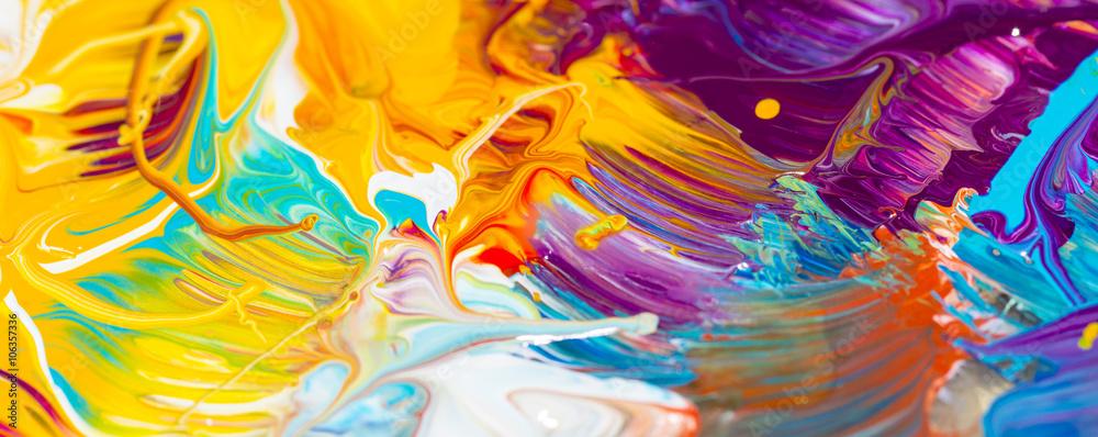 Fototapety, obrazy: Farben, Malen, Farbmischung mit Gouache/ Acryl, Hintergrund, Panorama, bunt, farbenfroh