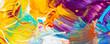 canvas print picture - Farben, Malen, Farbmischung mit Gouache/ Acryl, Hintergrund, Panorama, bunt, farbenfroh