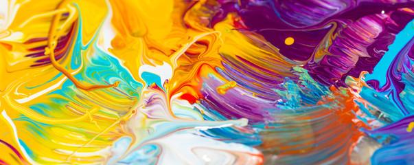 Farben, Malen, Farbmischung mit Gouache/ Acryl, Hintergrund, Panorama, bunt, farbenfroh