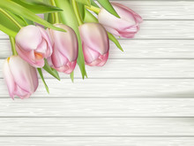 Pink Tulips On White Wooden Background. EPS 10