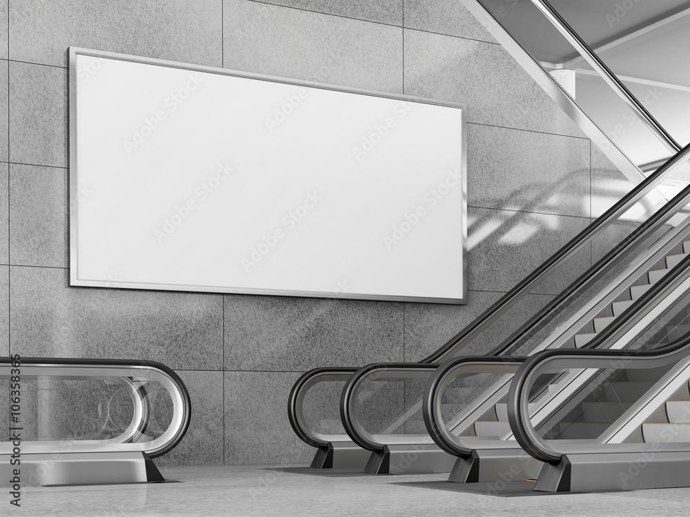 Fototapety, obrazy: Blank horizontal billboard in public place. 3D rendering.