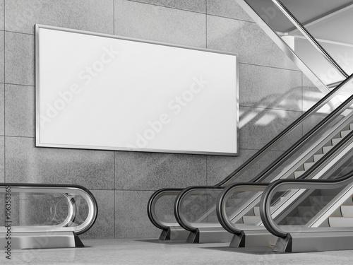 Obraz Blank horizontal billboard in public place. 3D rendering. - fototapety do salonu