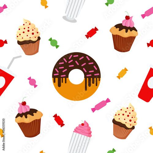 Materiał do szycia Słodki żywności. Fast Food. Ciasto, cukierki, czekolada, Pączek, Muffin. Wzór