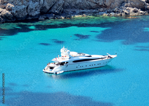 boat anchored in a bay, luxury yacht Slika na platnu