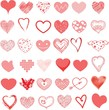 Vector hearts super set. Hand drawn isolated hearts for design Valentine's greeting cards